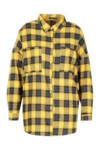 Womens Plus Check Brushed Cloth Oversized Shirt - yellow - 20, Yellow
