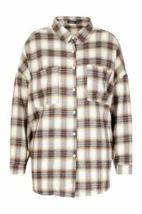 Womens Plus Check Brushed Cloth Oversized Shirt - navy - 20, Navy