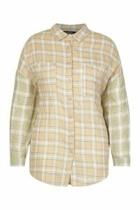Womens Plus Contrast Sleeve Check Oversized Shirt - multi - 18, Multi
