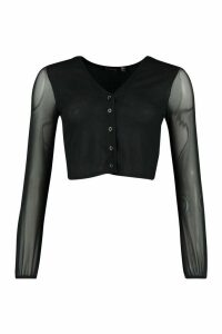 Womens Petite Mesh Sleeve Popper Fastening Cardigan - black - 14, Black