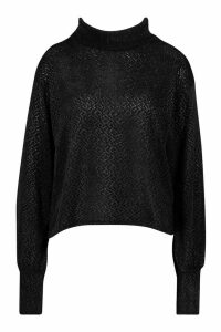 Womens Petite Chenille Soft Knitted Roll Neck Jumper - black - 6, Black
