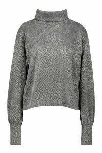 Womens Petite Chenille Soft Knitted Roll Neck Jumper - grey - 6, Grey