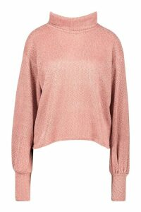 Womens Petite Chenille Soft Knitted Roll Neck Jumper - pink - 12, Pink