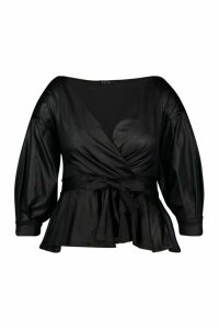 Womens Plus Leather Look Off The Shoulder Top - Black - 20, Black