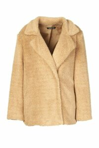 Womens Petite Double Breasted Cropped Teddy Coat - beige - 8, Beige