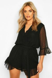 Womens Plus Dobby Mesh Ruffle Wrap Tie Playsuit - black - 20, Black