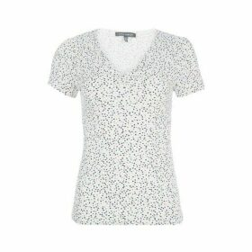Confetti Print Twist Front Tee Shirt
