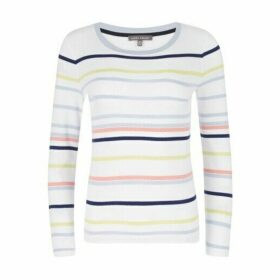 Crew Neck Striped Button Detail Top