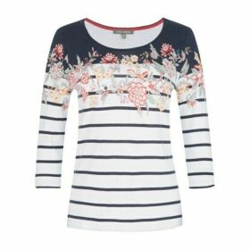 Striped Placement Floral Tee Shirt