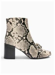Womens Bain Natual Snake Chain Ankle Boots, Natural
