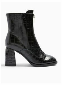 Womens Brit Black Zip Front Boots, BLACK