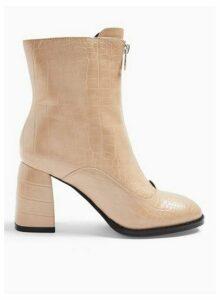 Womens Brit Nude Zip Front Boots, NUDE