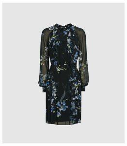 Reiss Nettie - Floral Printed Mini Dress in Navy, Womens, Size 18