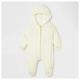 River Island Baby Cream knitted pom pom all in one