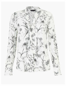 M&S Collection Floral Tie Neck Blouse