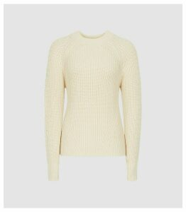 Reiss Aisling - Cotton Blend Chunky Knit Jumper in Cream, Womens, Size XL