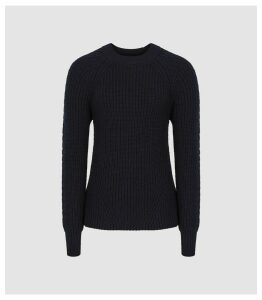 Reiss Aisling - Cotton Blend Chunky Knit Jumper in Navy, Womens, Size XL