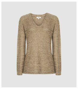 Reiss Jasmine - Chunky Metallic Knit Jumper in Bronze, Womens, Size XL