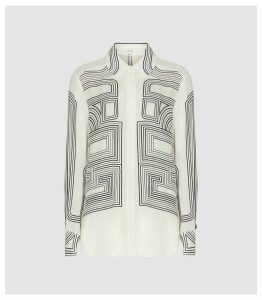 Reiss Geo - Line Print Shirt in Cream Print, Womens, Size 16