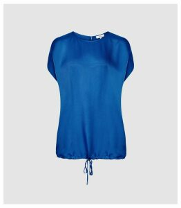 Reiss Maggie - Textured Satin T-shirt in Cobalt Blue, Womens, Size 16