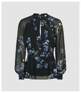 Reiss Robbie - Floral Printed Blouse in Navy, Womens, Size 16