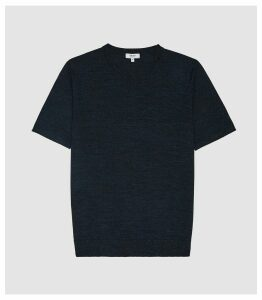 Reiss Wiltshire - Merino Crew Neck Top in Indigo Mouline, Mens, Size XXL