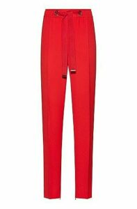 Relaxed-fit trousers with tie-up logo belt