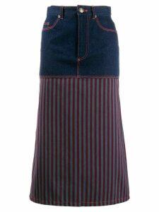 Jean Paul Gaultier Pre-Owned 1990s striped panel denim skirt - Blue