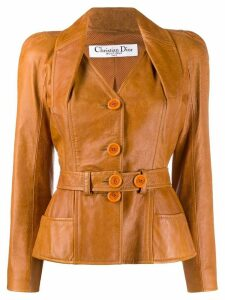 Christian Dior Pre-Owned 2000s puffy sleeves leather jacket - Brown