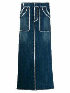 Jean Paul Gaultier Pre-Owned raw seam denim skirt - Blue