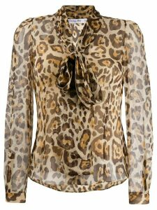 Christian Dior Pre-Owned 2000s leopard printed blouse - BEIGE/BROWN
