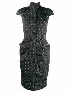Christian Dior Pre-Owned 2000s polka dotted fitted dress - Blue