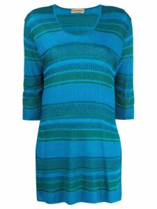 Issey Miyake Pre-Owned 1980s striped tunic top - Blue