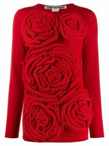 Comme Des Garçons Pre-Owned 2000's flower detail knitted top - Red