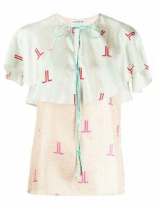 LANVIN graphic logo print blouse - PINK