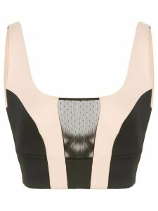 Kiki de Montparnasse contrast-panel cropped top - Black