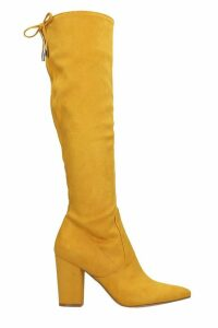 Steve Madden Risky High Heels Boots In Yellow Suede