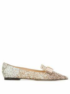 Jimmy Choo Gala glitter ballerina shoes - GOLD
