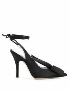 Attico ankle-wrap satin pumps - Black