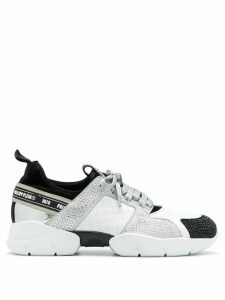 Philipp Plein crystal embellished runner sneakers - White