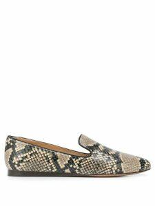 Veronica Beard snakeskin effect loafers - Brown