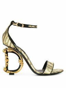 Dolce & Gabbana baroque D & G heeled sandals - GOLD