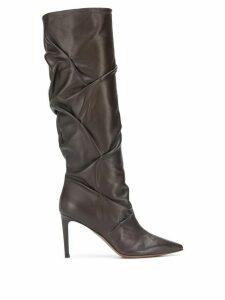 L'Autre Chose draped detail calf height boots - Brown