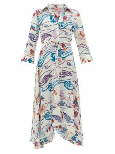 Le Sirenuse, Positano - Lucy Magic Flower-print Cotton-voile Dress - Womens - Cream Print
