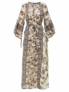 D'Ascoli - Vista Floral-print Cotton Maxi Dress - Womens - Grey Print