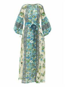 D'Ascoli - Vista Belted Floral-print Cotton Dress - Womens - Blue Print