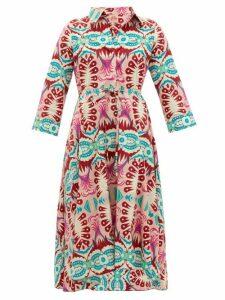 Le Sirenuse, Positano - Lucy Fishtail-print Cotton Dress - Womens - Pink Print