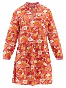 D'Ascoli - Lulu Floral-print Cotton Dress - Womens - Pink Print