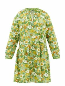 D'Ascoli - Lulu Tie-neck Floral-print Cotton Dress - Womens - Green Print