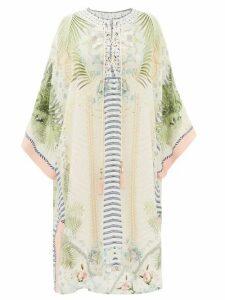 Camilla - Beach Shack-print Lace-up Silk Kaftan - Womens - White Print